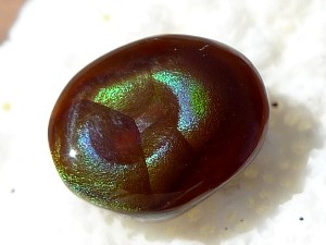 Photo Fire Agate Cabochon 3.9 Carats 9.5x7.5x4mm Calvillo Mexico Gemstone MXG022